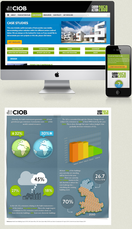 kc web design kent - CIOB Carbon Action 2050 website design